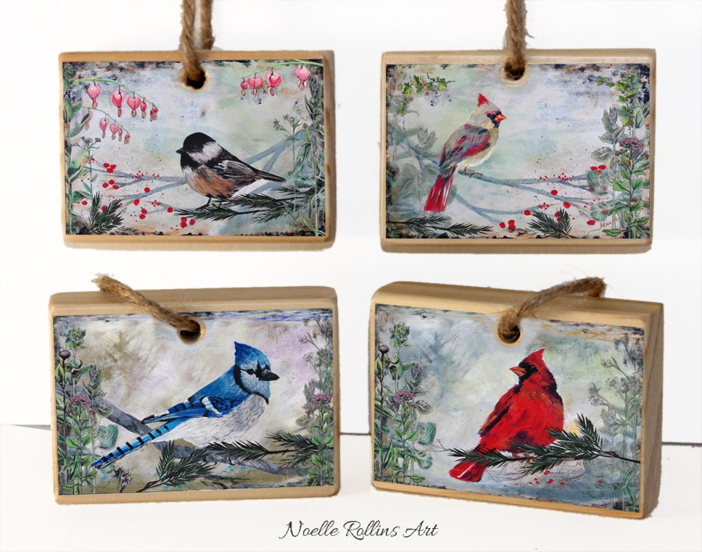 bird ornaments by Noelle Rollins Art