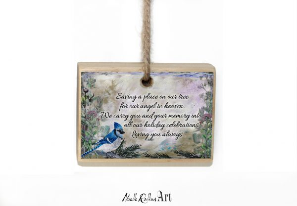 Blue jay and floral memorial ornament