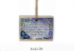 Memorial ornament with blue butterfly from Noelle Rollins Art