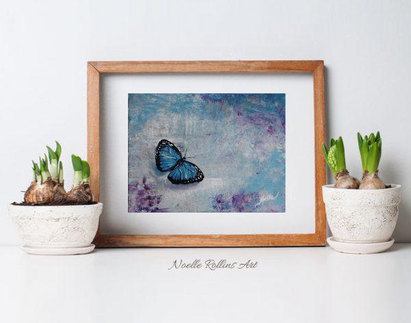 blue butterfly matted print wall art