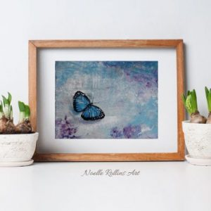 blue butterfly matted print wall art