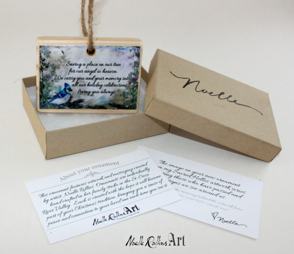 blue jay over florals and wildflower background gift set