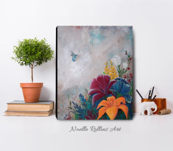 floral art with hummingbird