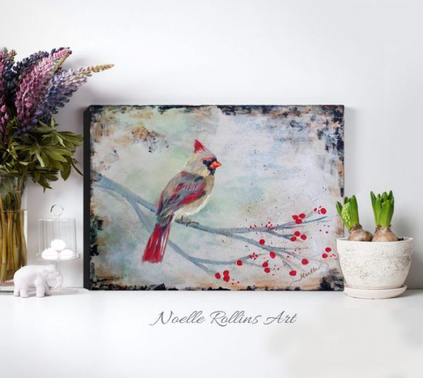 female cardinal wall art