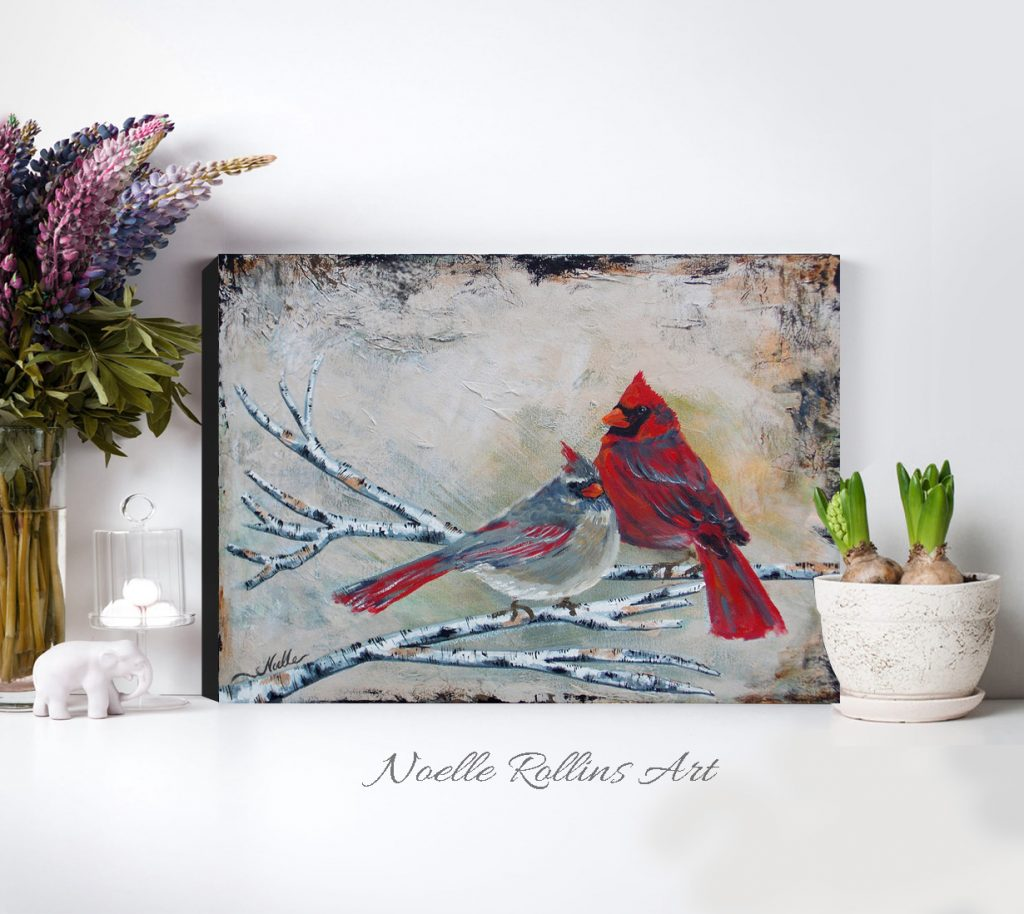 cardinal pair couple wall art