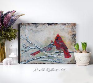 cardinal pair couple wall art