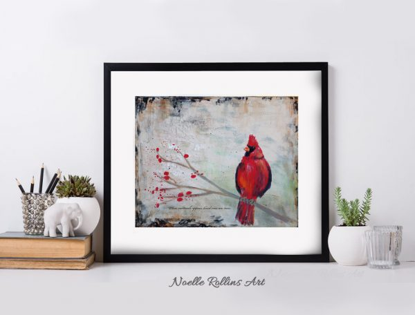 cardinal is near matted print