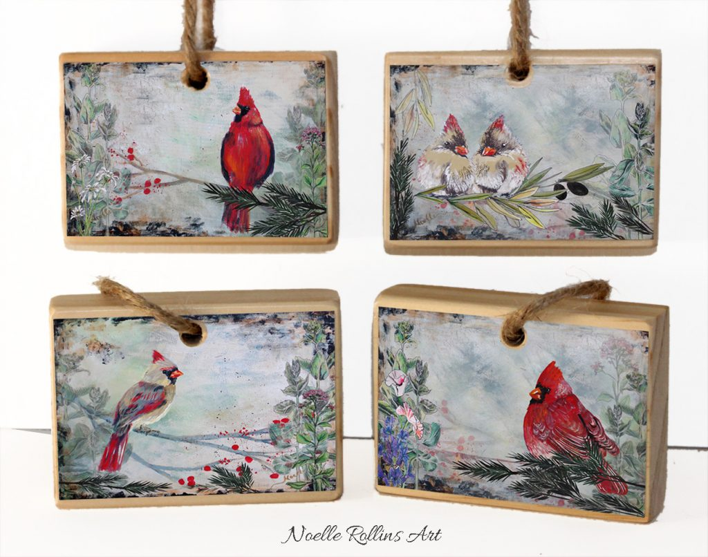cardinal ornament set from Noelle Rollins Art