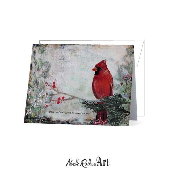 red cardinal memorial card