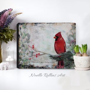 cardinal near canvas print