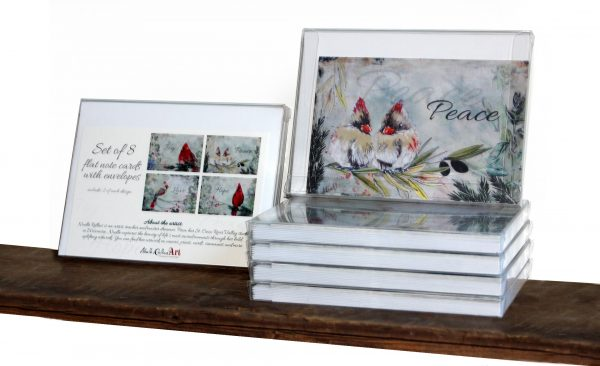 set of 8 cardinal note cards packaged