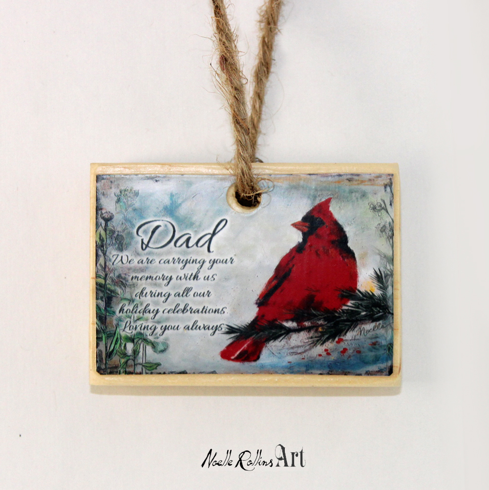 after dad has passed ornament with cardinal