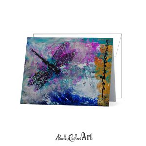 note card featuring a bold dragonfly