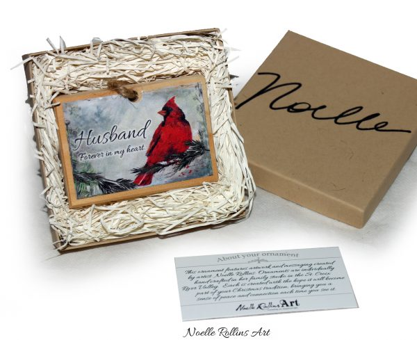 box cardinal ornament to honor husband who is deceased
