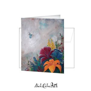 hummingbird near bold flowers card