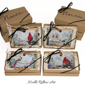 cardinal ornaments by Noelle Rollins Art