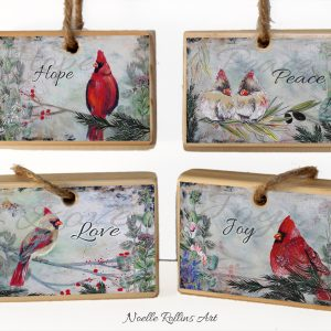 inspirational cardinal ornament set by Noelle Rollins Art