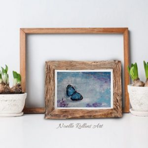 blue butterfly by Noelle Rollins Art