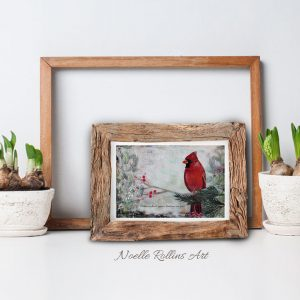cardinal near small matted print