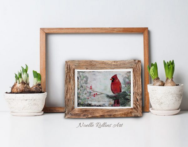cardinal near small matted print
