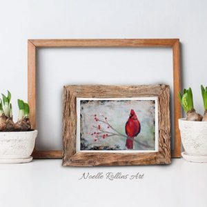 small matted print of red cardinal