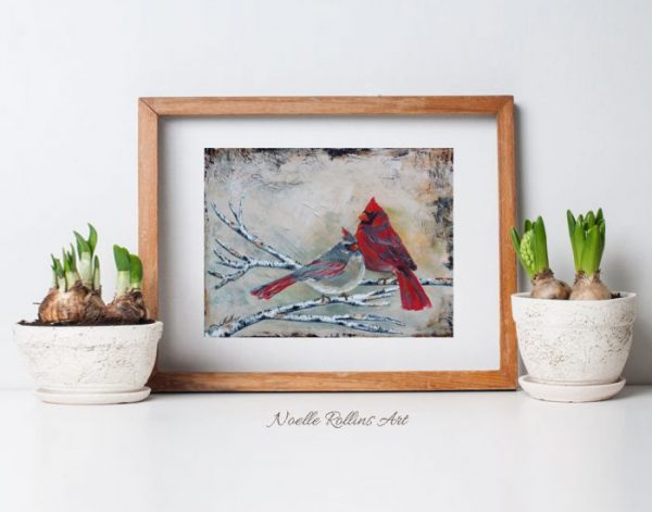 partners cardinal couple wall art