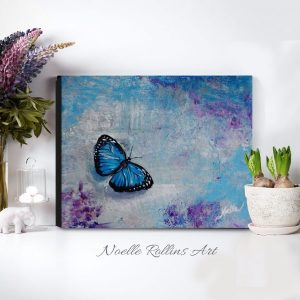 blue butterfly canvas print noelle rollins art