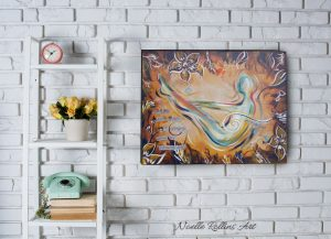 canvas original yoga artwork boat pose