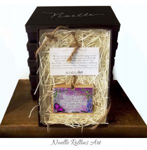 Boxed gift set including pink remembrance artisan butterfly.