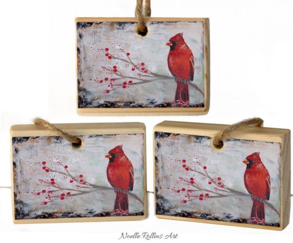Trio of red cardinal protector ornaments