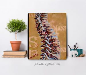 spine anatomy artwork with tan background