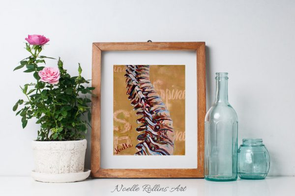 tan spine print artwork from Noelle Rollins Art