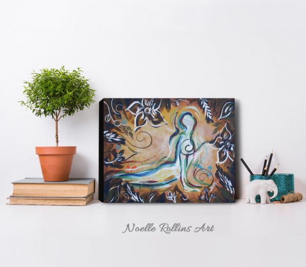 upward facing dog soulful yoga artwork from Noelle Rollins Art