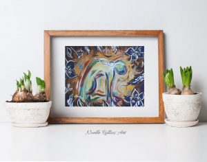 Camel pose throat chakra wall art print