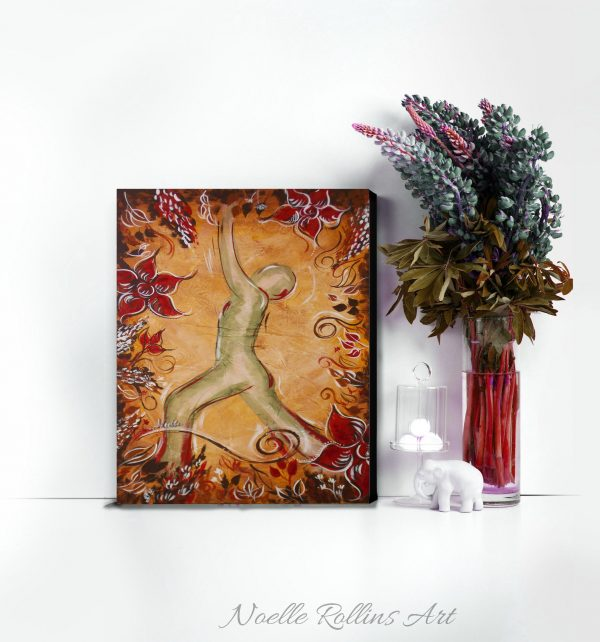 warrior pose red root chakra artwork