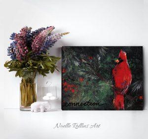 cardinal connection bold red bird wall art