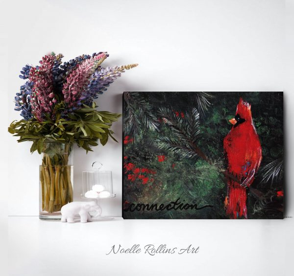 cardinal connection bold red bird wall art