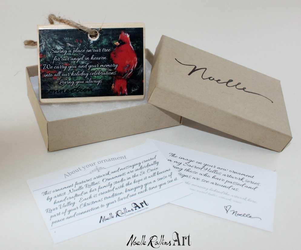 Boxed ornament set featuring cardinal and remembrance poem