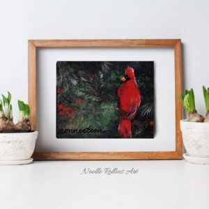 cardinal artwork over green