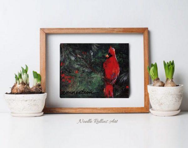 cardinal artwork over green