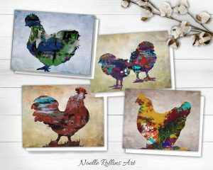 boxed chickens card set
