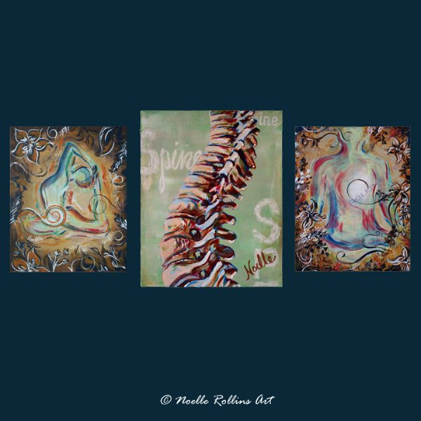 yoga trio with spine anatomy canvas prints