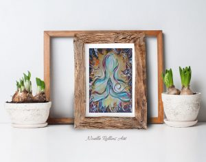 mountain pose praying hands print from Noelle Rollins Art