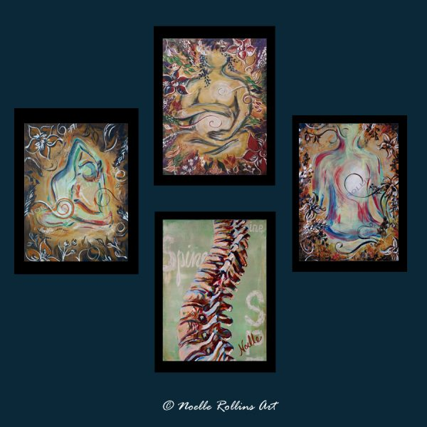 spine pregnancy and yoga art quad