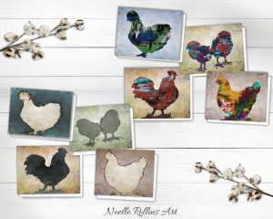 set of 8 chicken cards to give or frame