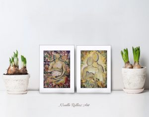 small matted prints pregnancy and together family