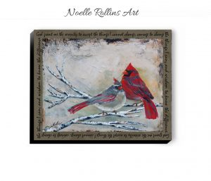 cardinal couple with serenity prayer border