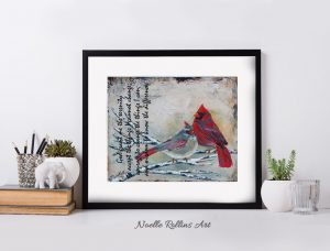 cardinal couple matted print