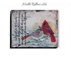 cardinal couple with serenity prayer artwokr