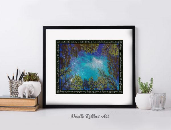 serenity prayer artwork with night sky